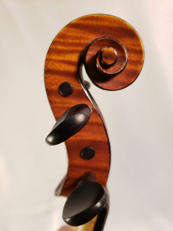 A. Delivet violin Paris 1922 scroll