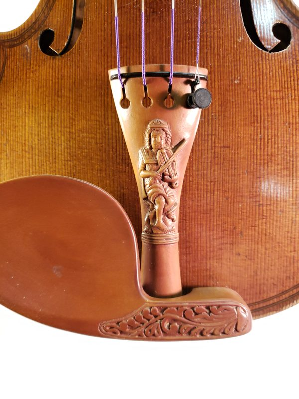 Czech highly carved violin early 1900's tail piece