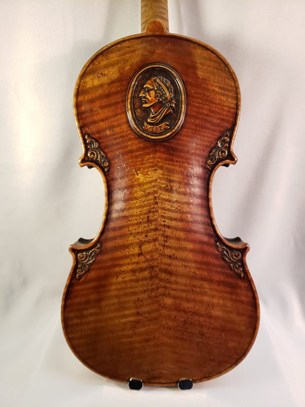 Carved German Lion's head violin late 19th century back