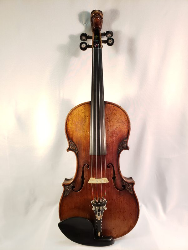 Carved German Lion's head violin late 19th century full length