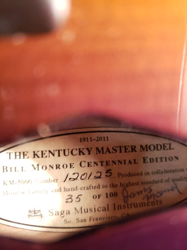 Kentucky KM-5000 Bill Monroe Centennial Mandolin label